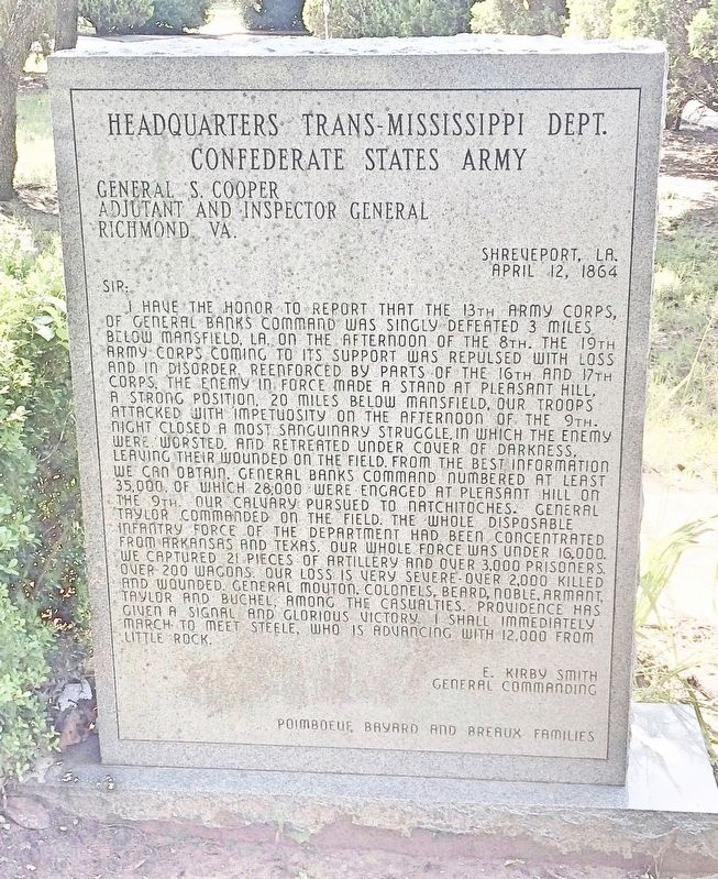 Headquarters Trans-Mississippi Dept. Monument (Rear) image. Click for full size.