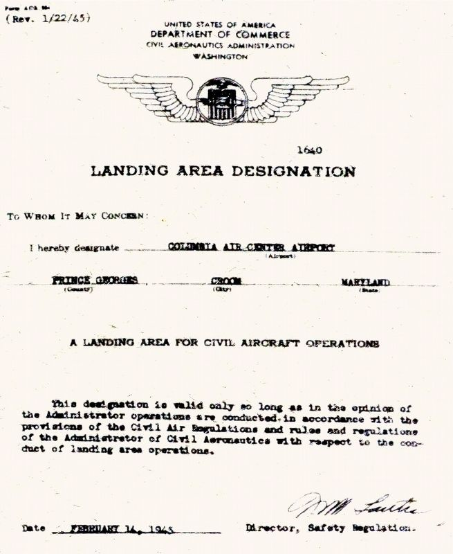 Landing Area Designation image. Click for full size.