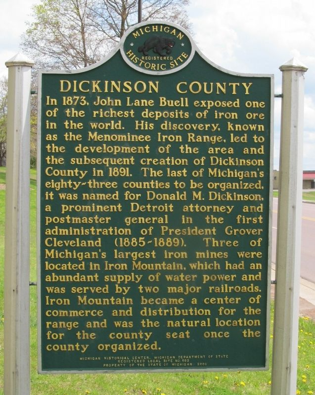 Dickinson County Marker image. Click for full size.