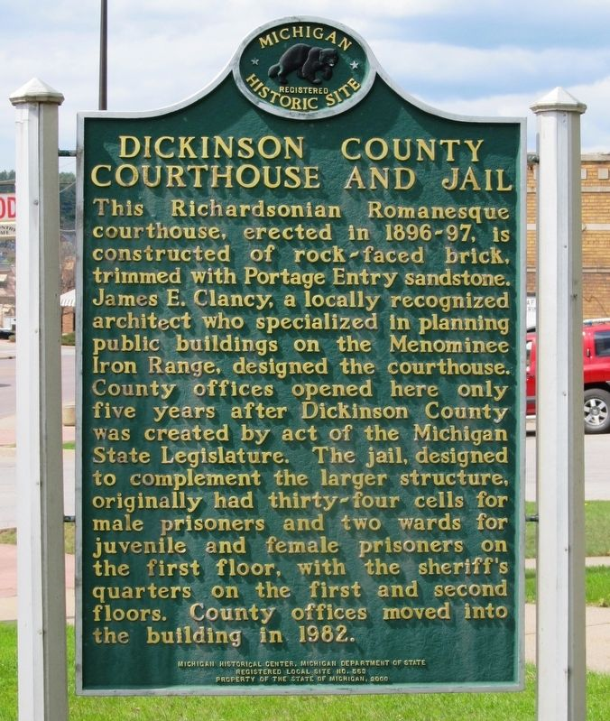 Dickinson County Courthouse and Jail Marker image. Click for full size.