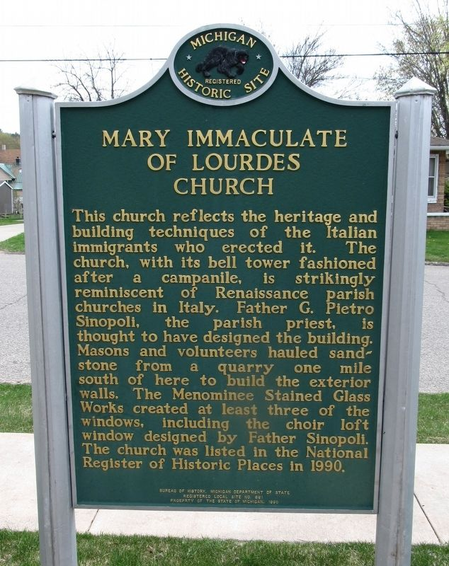 Mary Immaculate of Lourdes Church Marker image. Click for full size.