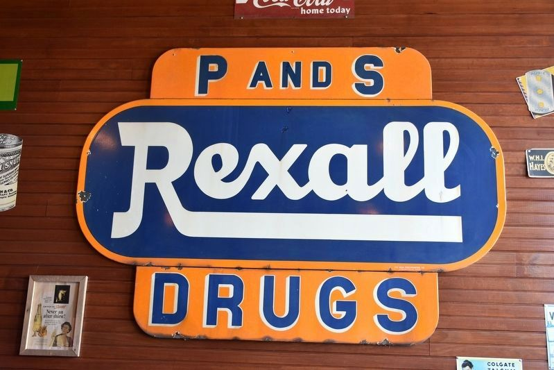 P and S Rexall Drugs (sign inside store) image. Click for full size.