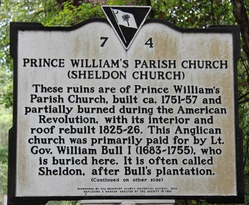 Prince William's Parish Church Marker image. Click for full size.