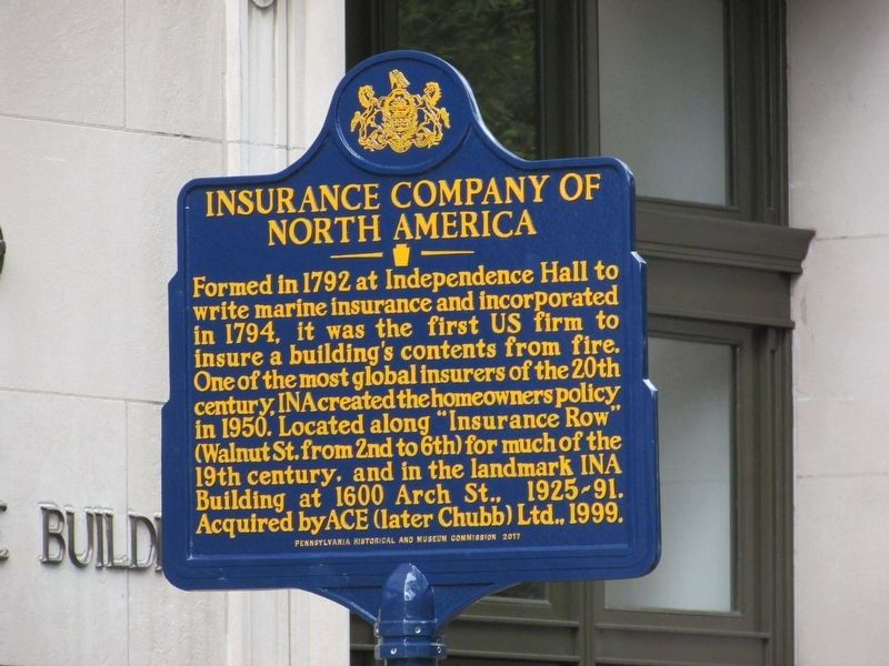 Insurance Company of North America Marker image. Click for full size.