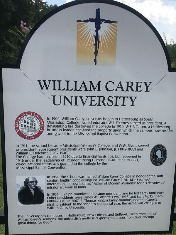 William Carey University Marker image. Click for full size.