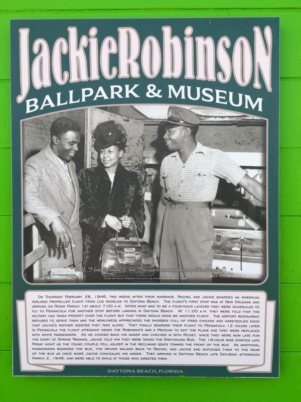 Jackie And Rachel Robinson Arrive In Daytona Beach Marker image. Click for full size.