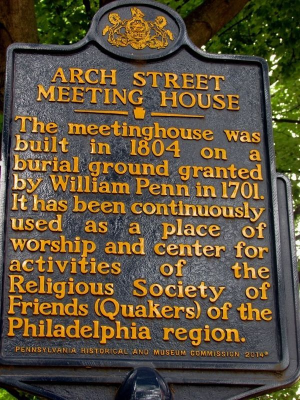 Arch Street Meeting House Marker image. Click for full size.