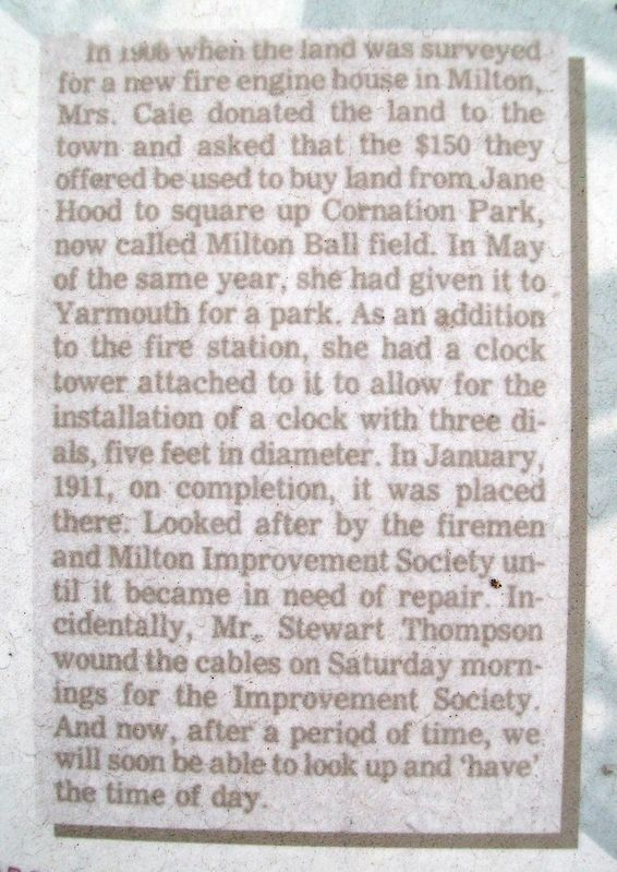 1989 <i>Yarmouth Vanguard</i> Article Excerpt on Milton Clock Marker image. Click for full size.
