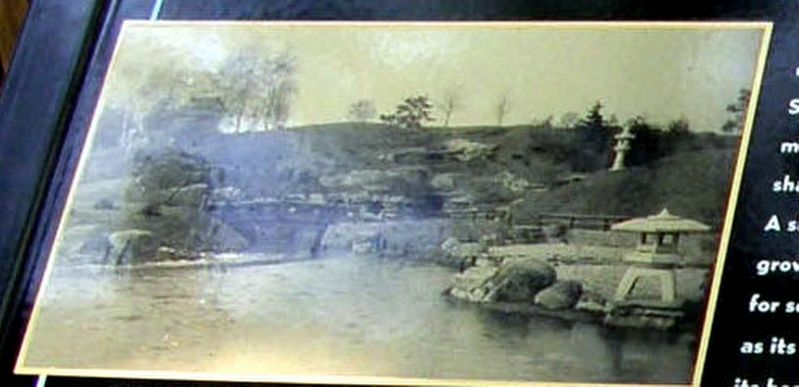 Insert - From left to right: the Shinto shrine, Wooden Bridge and Waterfall, and Island in 1914. image. Click for full size.