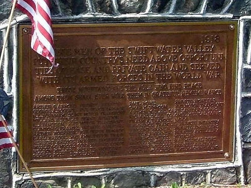 Swiftwater Valley WWI Memorial Marker image. Click for full size.