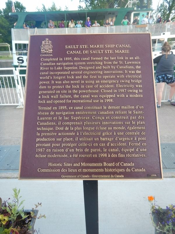 Sault Ste. Marie Ship Canal Marker image. Click for full size.