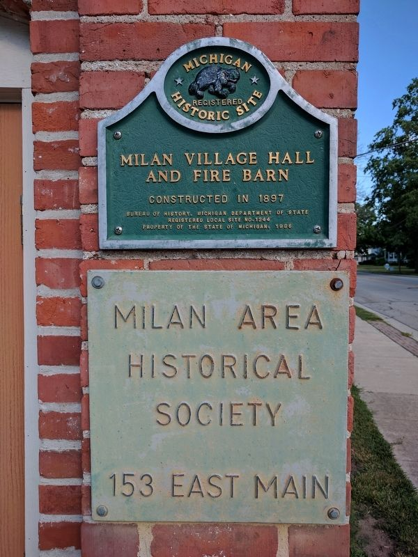 Milan Village Hall and Fire Barn Marker image. Click for full size.