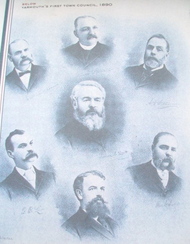 Yarmouth's First Town Council Photo on Political Life Marker image. Click for full size.