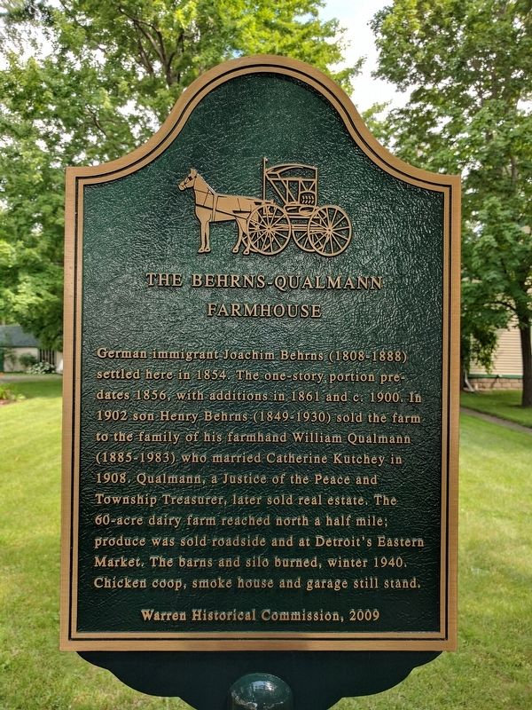 The Behrns-Qualmann Farmhouse Marker image. Click for full size.