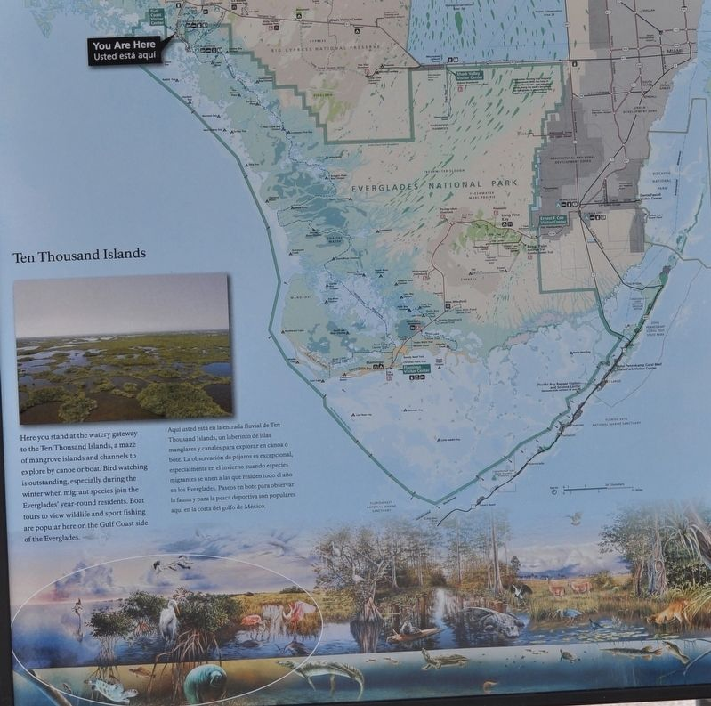 Everglades National Park Marker/Ten Thousands Lakes image. Click for full size.