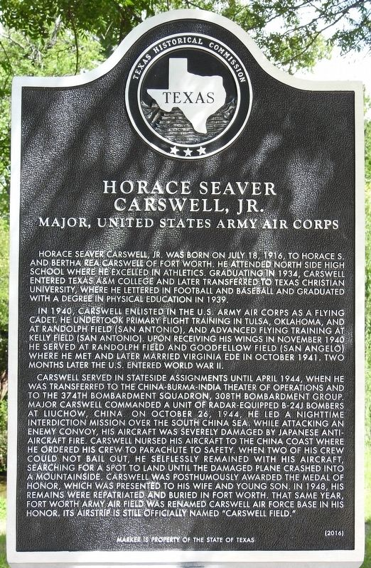 Horace Seaver Carswell, Jr. Texas Historical Marker image. Click for full size.