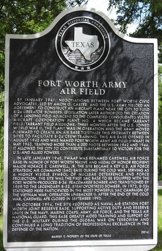 Fort Worth Army Air Field Texas Historical Marker image. Click for full size.