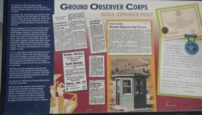 Ground Observation Corps Soda Springs Post Marker image. Click for full size.