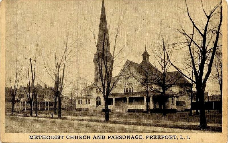 <i>Methodist Church and Parsonage, Freeport, L.I.</i> image. Click for full size.