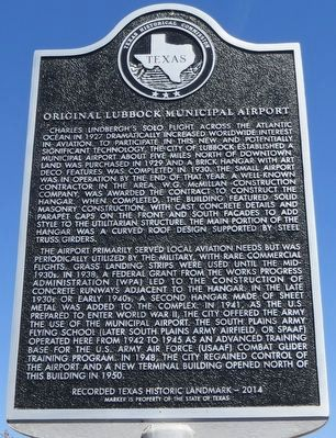 Original Lubbock Municipal Airport Marker image. Click for full size.