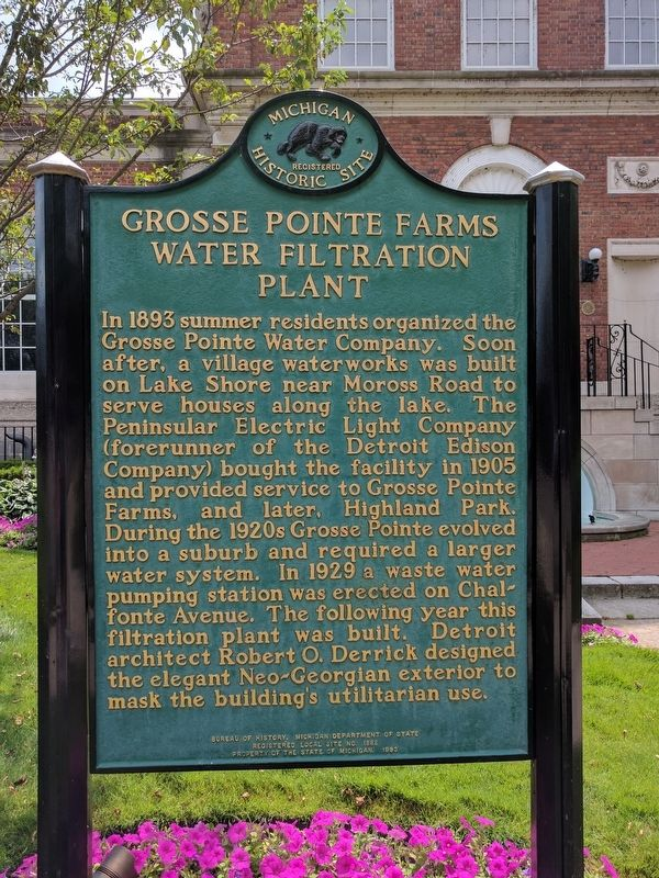 Grosse Pointe Farms Water Filtration Plant Marker image. Click for full size.
