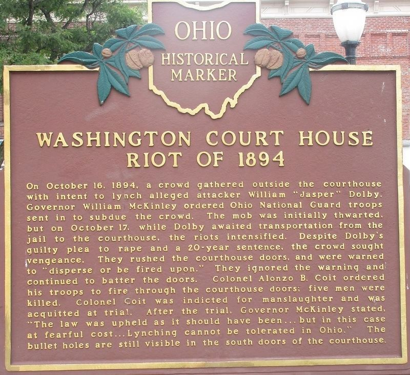 Washington Court House Riot of 1894 Marker image. Click for full size.