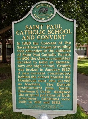 Saint Paul Catholic School and Convent Marker image. Click for full size.
