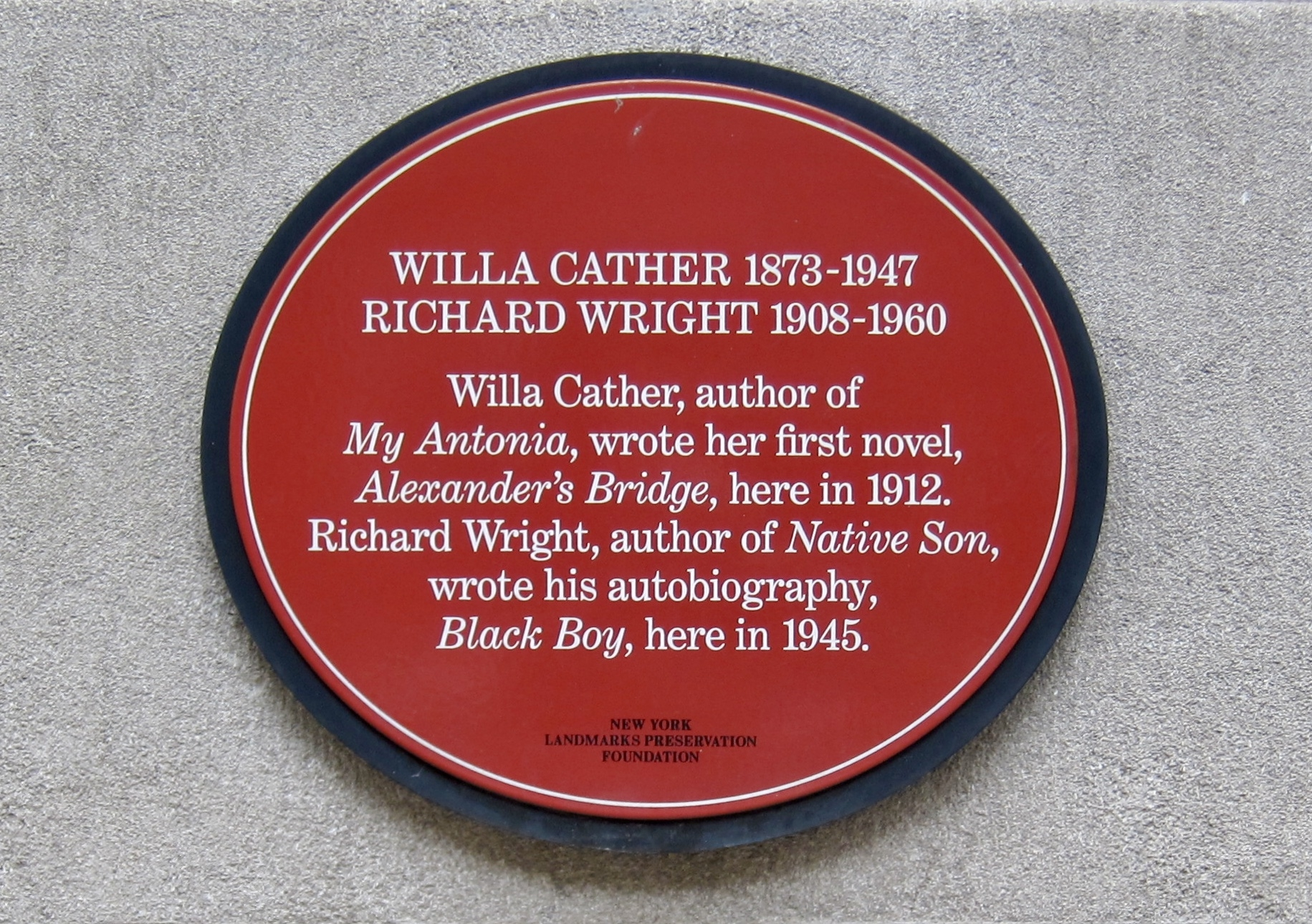 Willa Cather and Richard Wright Marker