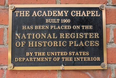 Academy Chapel National Register of Historic Places Plaque image. Click for full size.