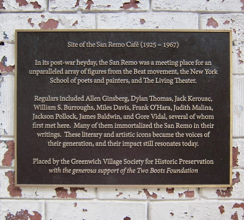 Site of the San Remo Café (1925 - 1967) Marker image. Click for full size.