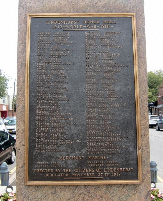 Lindenhurst World War I Memorial Marker image. Click for full size.