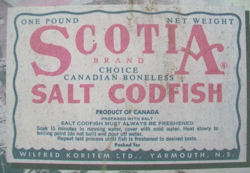 Salt Codfish Label on The Fishery Marker image. Click for full size.