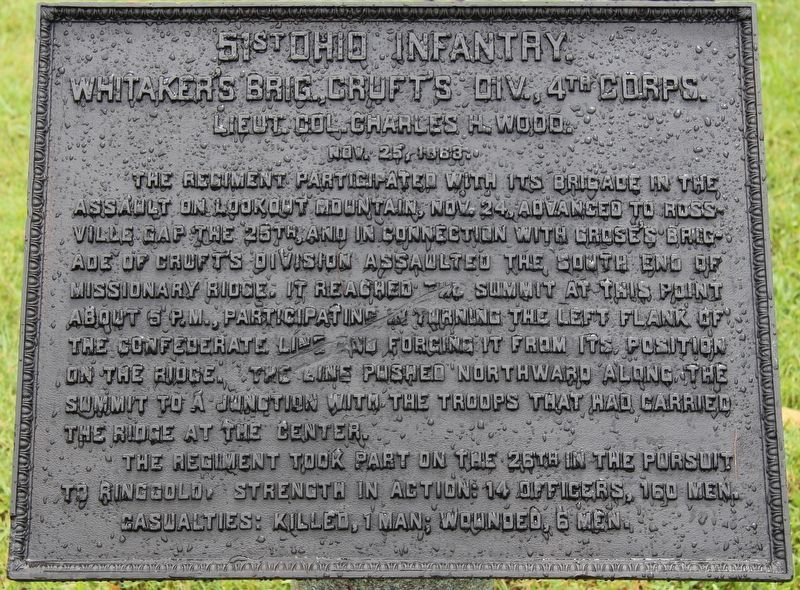 51st Ohio Infantry Marker image. Click for full size.