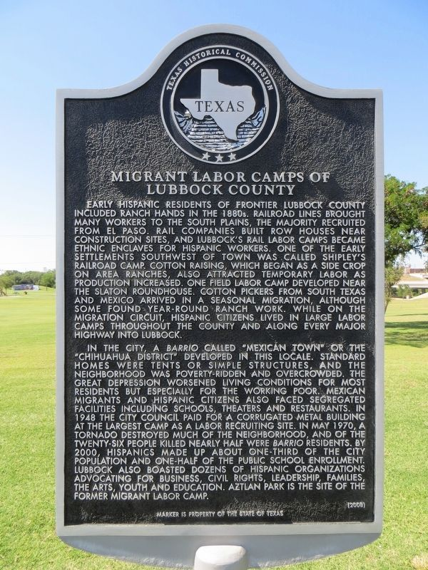Migrant Labor Camps of Lubbock County Marker image. Click for full size.
