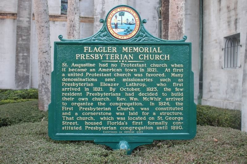 Flagler Memorial Presbyterian Church Marker, newly repainted. image. Click for full size.