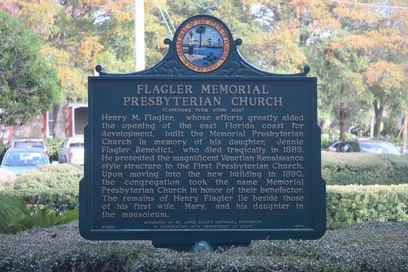 Flagler Memorial Presbyterian Church Marker reverse, newly repainted. image. Click for full size.
