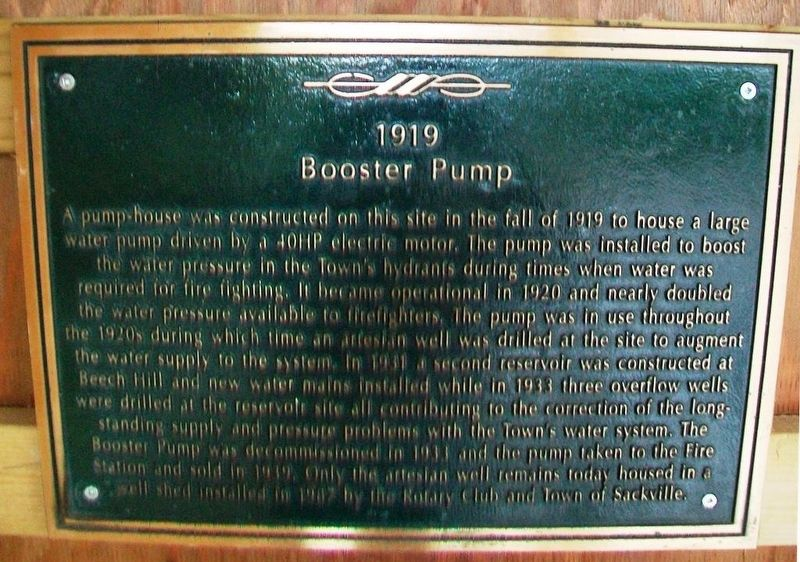 1919 Booster Pump Marker image. Click for full size.