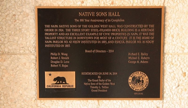 Native Sons Hall Marker image. Click for full size.