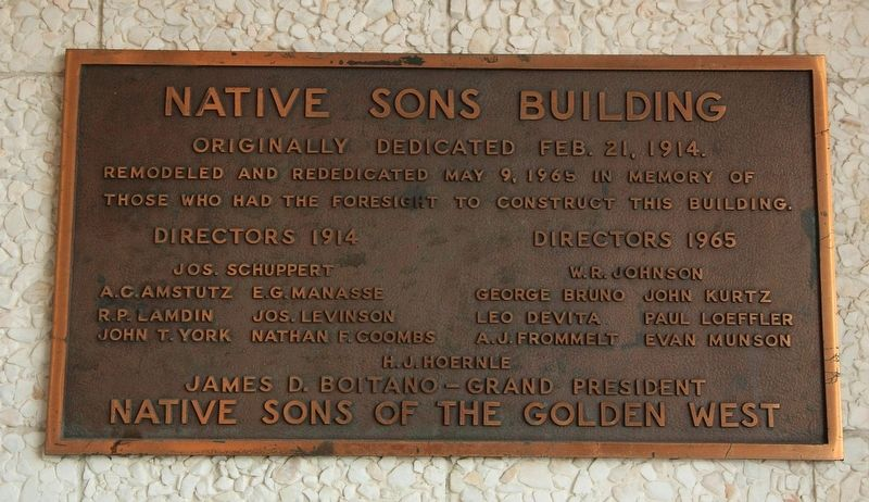 Native Sons Building Marker image. Click for full size.