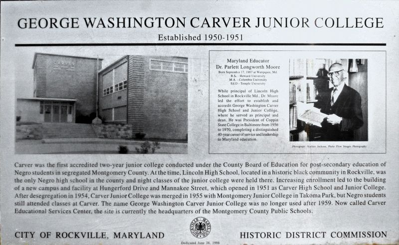 George Washington Carver Junior College Marker image. Click for full size.