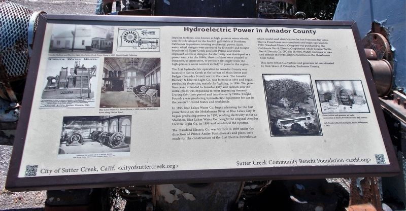 Hydroelectric Power in Amador County Marker image. Click for full size.