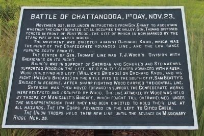 Battle of Chattanooga, 1st Day, Nov. 23 Marker image. Click for full size.