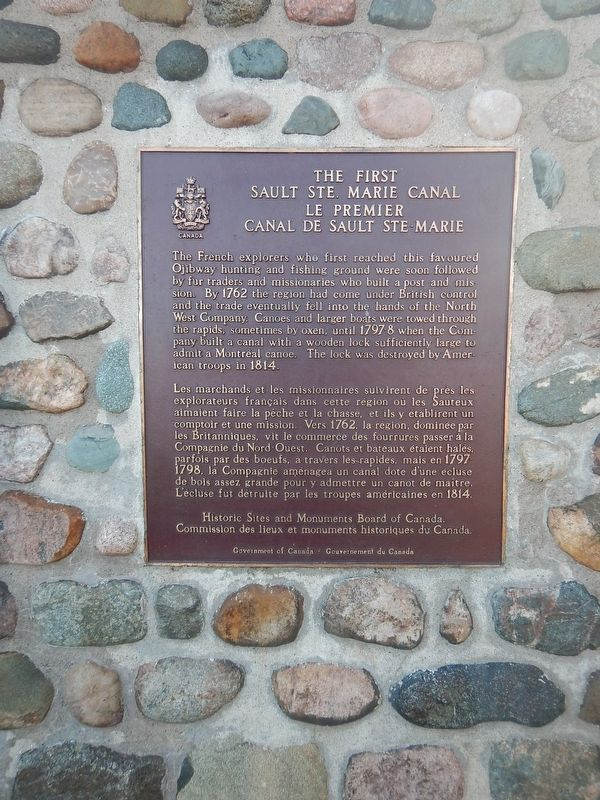 The First Sault Ste. Marie Canal Marker image. Click for full size.