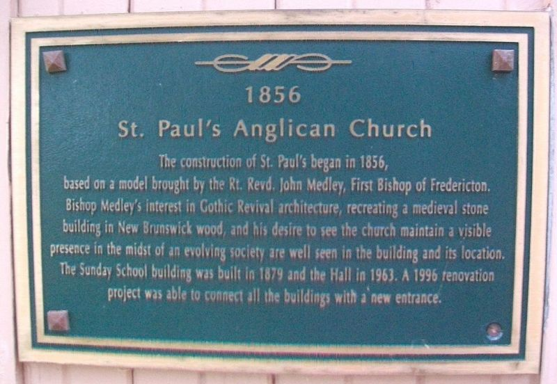 St. Paul's Anglican Church Marker image. Click for full size.