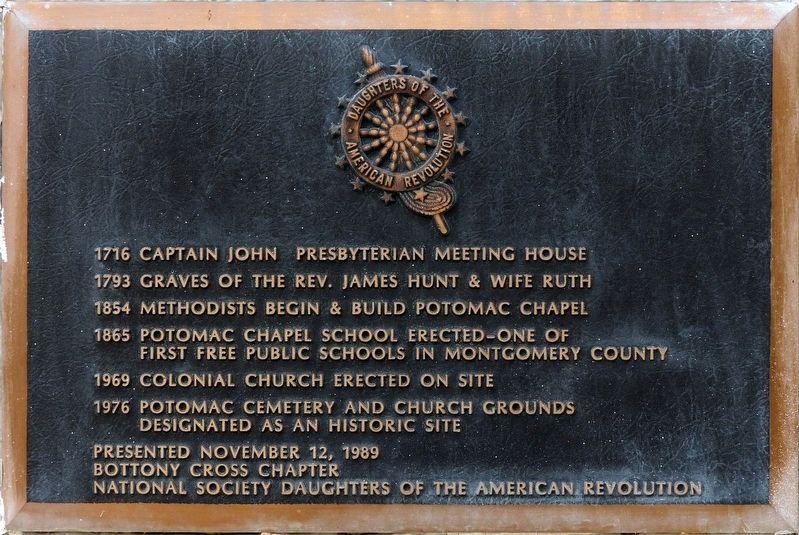Potomac Cemetery and Church Grounds Marker image. Click for full size.