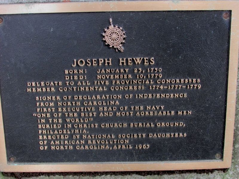 Joseph Hewes Marker image. Click for full size.