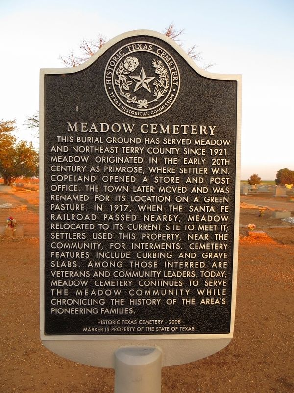 Meadow Cemetery Marker image. Click for full size.