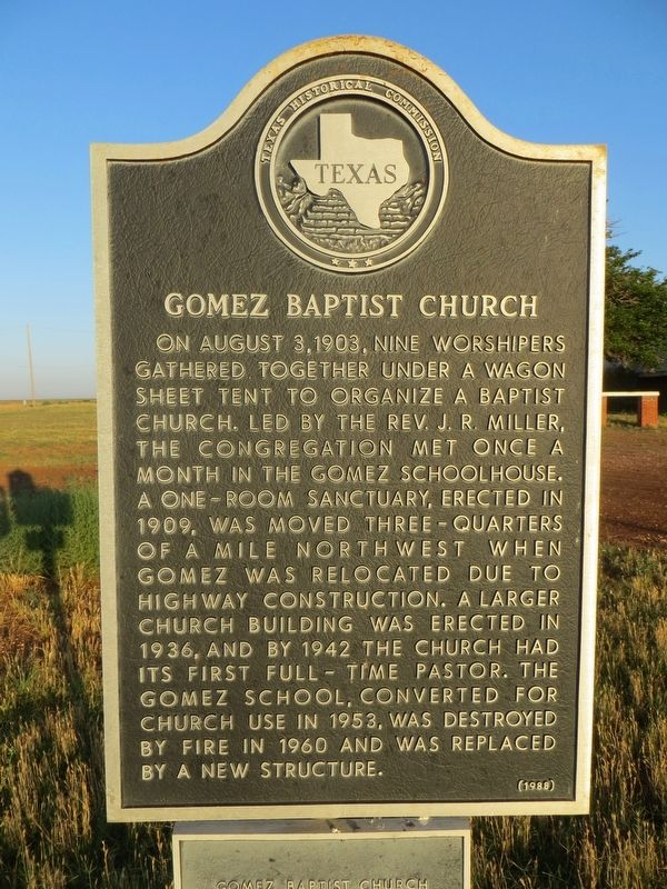 Gomez Baptist Church Marker image. Click for full size.