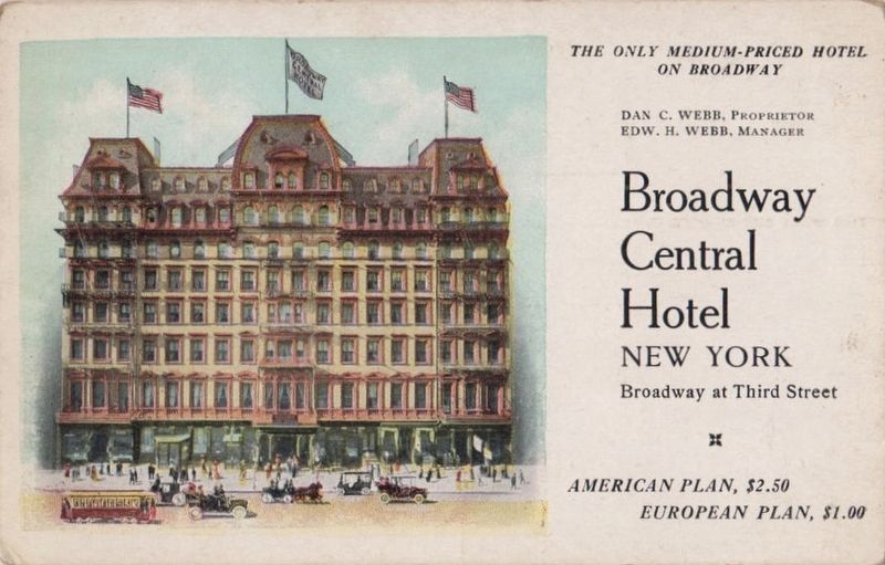 Broadway Central Hotel - Site of the Founding of the Amer. Soc. of Heating and Ventilation Engineers image. Click for full size.