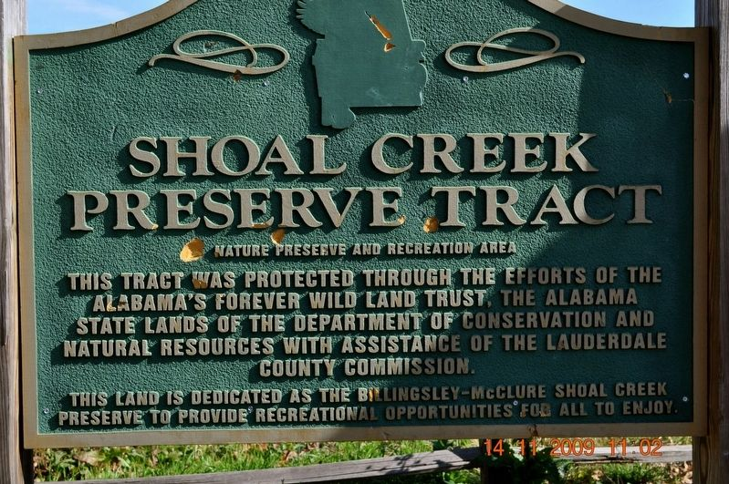 Shoals Creek Preserve Tract Marker image. Click for full size.
